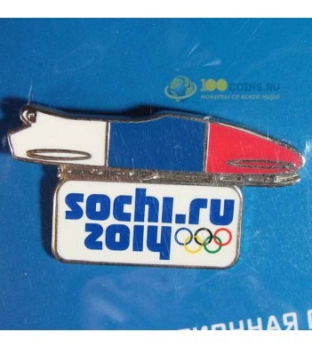 Значок Сочи 2014 Спортивный инвентарь Бобслей